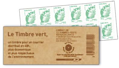 Le carnet timbre Vert de La Poste