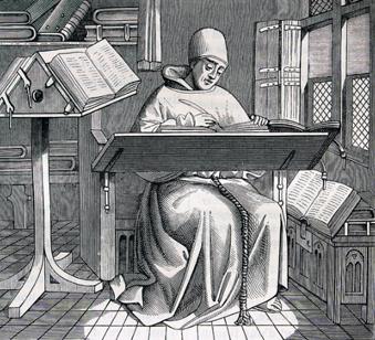 Un copiste au Moyen-âge (d'après une miniature d'un manuscrit du XVème siècle, les Chroniques de Hainout, qui existe à la bibliothèque de Bruxelles