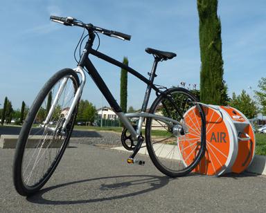 Un vélo raccordé au système Altao'pump