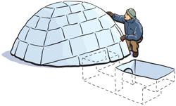 La fosse à froid (ou piège à froid) s'intalle généralement à l'entrée de l'igloo