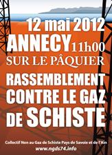 Programme de la manifestation anti gaz de schiste à Annecy