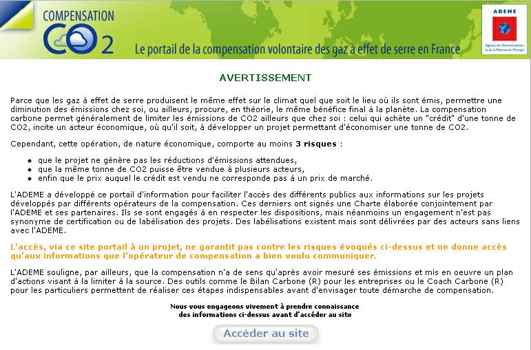 Le message d'avertissement de l'ADEME sur les risques de la compensation carbone