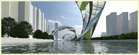 Vue sous une des arches de Sity : le projet d'aménagement urbain du centre de Shangai dessinée par l'équipe d'Ivaylo Donchev