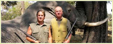 Juan Carlos lors d'une chasse à l'éléphant