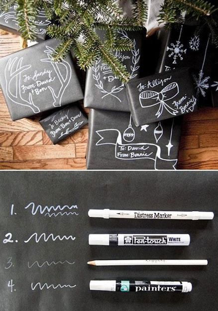 emballage cadeau papier craft noir et dessins au poska blanc