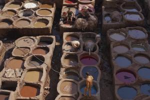 Quartier des tanneurs Fez, Maroc