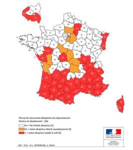 carte de france représentant la prolifération du moustique tigre
